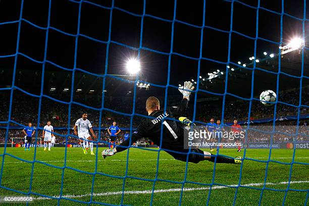 Riyad Mahrez of Leicester City scores his teams third from the spot during the UEFA Champions League match between Club Brugge KV and Leicester City...