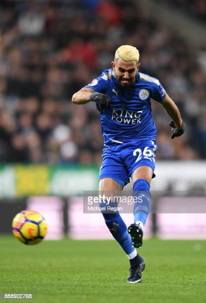 Riyad Mahrez of Leicester City scores the first Leicester goal during the Premier League match between Newcastle United and Leicester City at St...