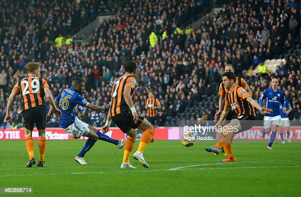 Riyad Mahrez of Leicester City scores the opening goal during the Barclays Premier League match between Hull City and Leicester City at KC Stadium on...