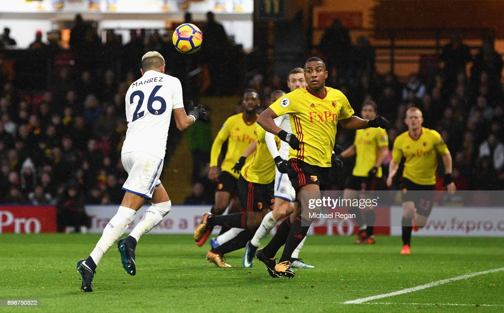 Riyad Mahrez of Leicester City scores the opening goal during the Premier League match between Watford and Leicester City at Vicarage Road on December 26, 2017 in Watford, England.