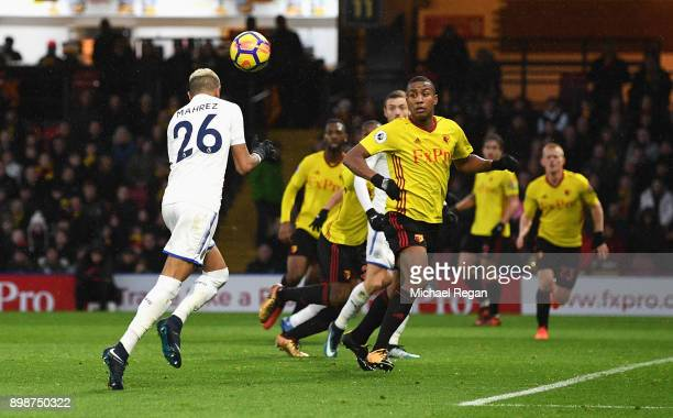 Riyad Mahrez of Leicester City scores the opening goal during the Premier League match between Watford and Leicester City at Vicarage Road on...