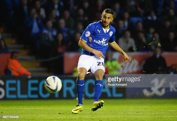 Riyad Mahrez of Leicester City scores the opening goal during the Sky Bet Championship match between Leicester City and Sheffield Wednesday at The...