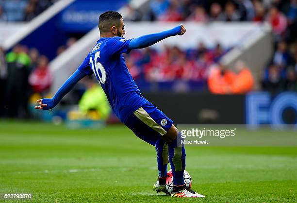 Riyad Mahrez of Leicester City scores their first goal during the Barclays Premier League match between Leicester City and Swansea City at The King...