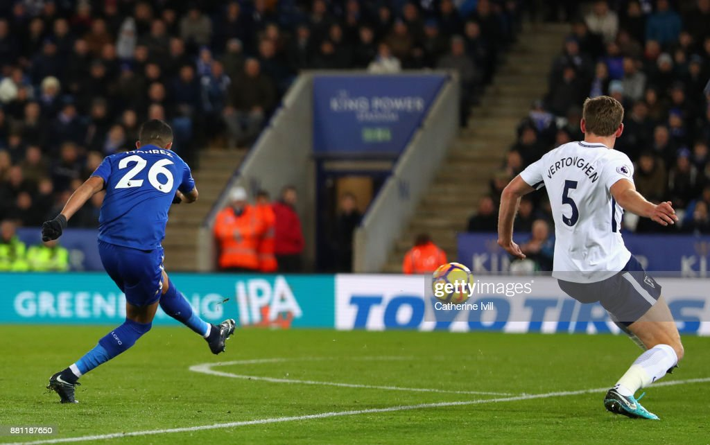 Riyad Mahrez of Leicester City (26) scores their second goal during the Premier League match between Leicester City and Tottenham Hotspur at The King Power Stadium on November 28, 2017 in Leicester, England.