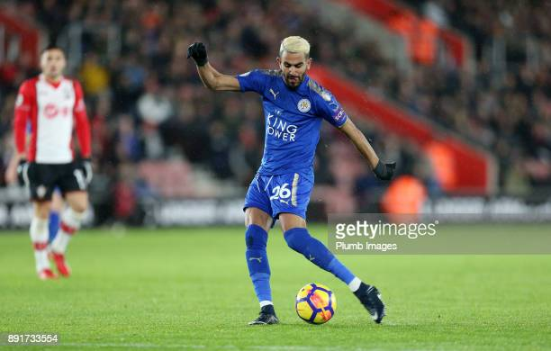 Riyad Mahrez of Leicester City scores to make it 01 during the Premier League match between Southampton and Leicester City at St Mary's Stadium on...