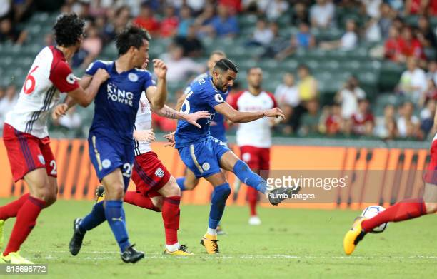 Riyad Mahrez of Leicester City scores to make it 10 during the Premier League Asia Trophy on July 19th 2017 in So Kon Po Hong Kong