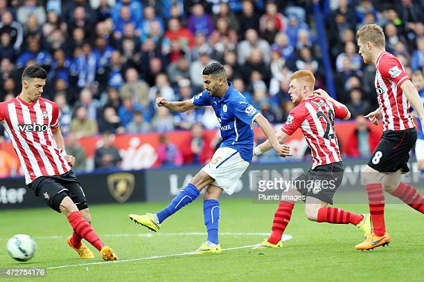 Riyad Mahrez of Leicester City scores to make it 10 during the Premier league match between Leicester City and Southampton at The King Power Stadium...