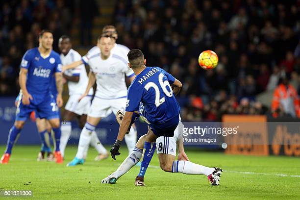 Riyad Mahrez of Leicester City scores to make it 20 during the Barclays Premier League match between Leicester City and Chelsea at the King Power...