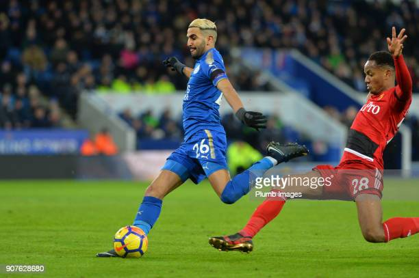 Riyad Mahrez of Leicester City scores to make it 20 during the Premier League match between Leicester City and Watford at The King Power Stadium on...