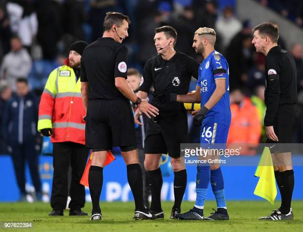 Riyad Mahrez of Leicester City shakes hands with referee Lee Probert after the Premier League match between Leicester City and Watford at The King...