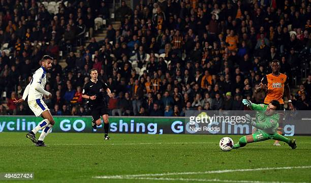 Riyad Mahrez of Leicester City shoots to score during the Capital One Cup Fourth Round match between Hull City and Leicester City at KC Stadium on...