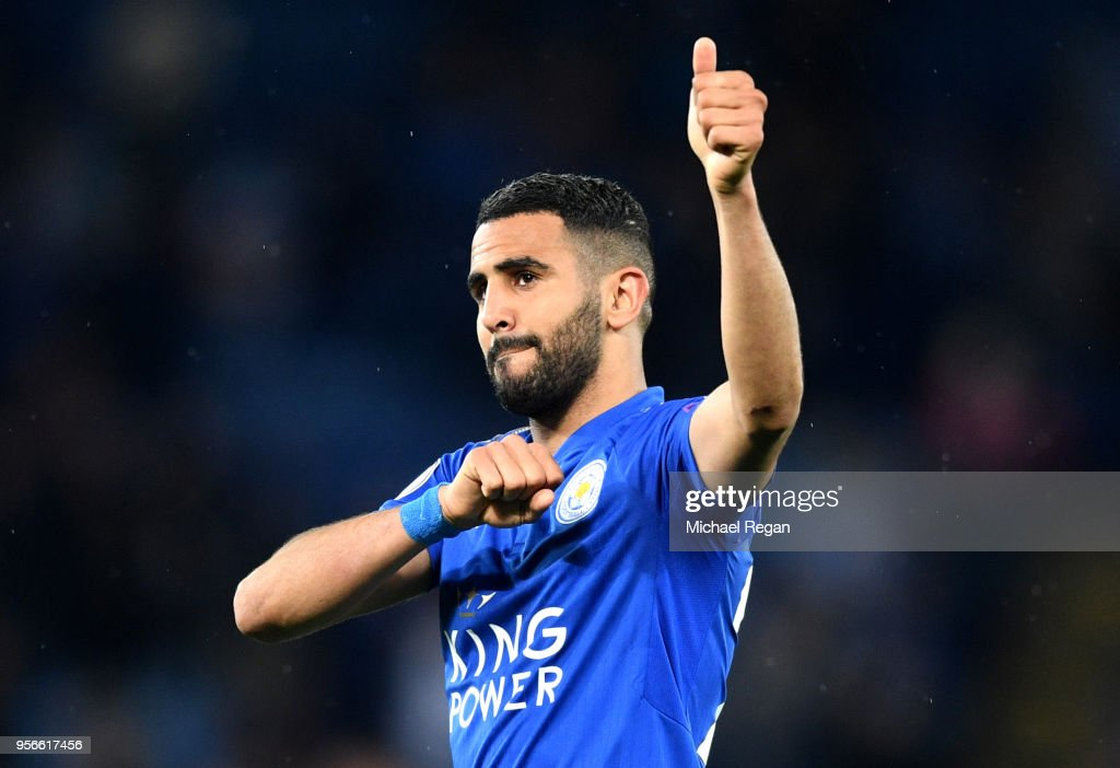 Riyad Mahrez of Leicester City shows appreciation to the fans during the Premier League match between Leicester City and Arsenal at The King Power Stadium on May 9, 2018 in Leicester, England.