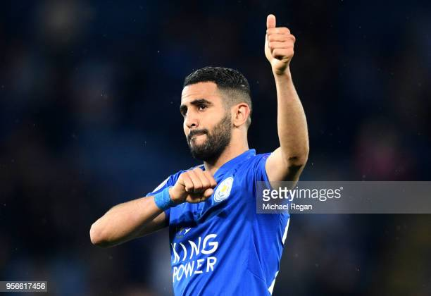 Riyad Mahrez of Leicester City shows appreciation to the fans during the Premier League match between Leicester City and Arsenal at The King Power...