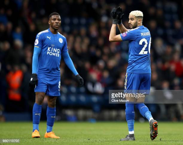 Riyad Mahrez of Leicester City shows appreciation to the fans following the Premier League match between West Bromwich Albion and Leicester City at...