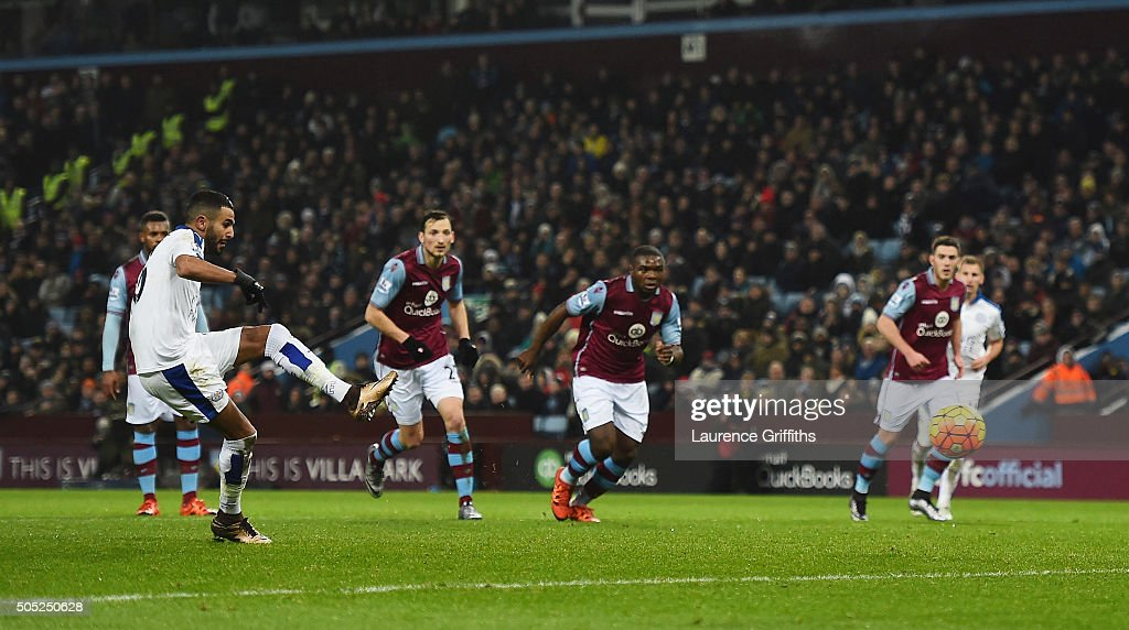 Riyad Mahrez of Leicester City takes a penalty saved by Mark Bunn of Aston Villa during the Barclays Premier League match between Aston Villa and Leicester City at Villa Park on January 16, 2016 in Birmingham, England.