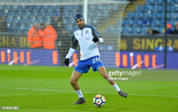 Riyad Mahrez of Leicester City warms up at King Power Stadium ahead of the FA Cup fifth round match between Leicester City and Sheffield United at...