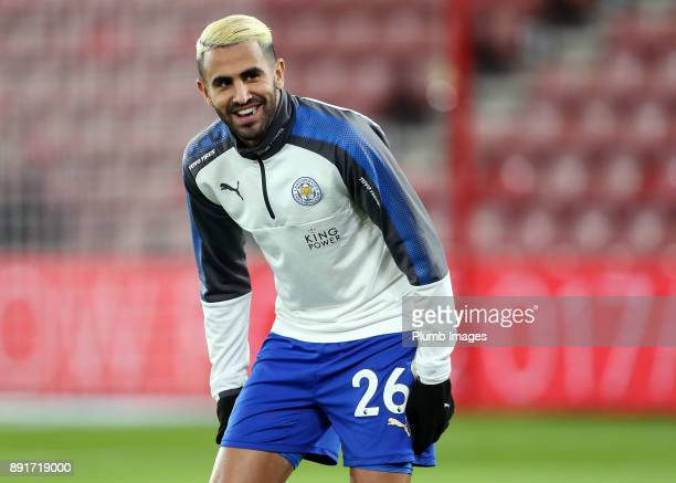 Riyad Mahrez of Leicester City warms up at St Mary's Stadium ahead of the Premier League match between Southampton and Leicester City at St Mary's...
