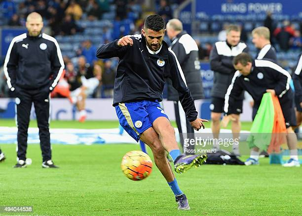 Riyad Mahrez of Leicester City warms up prior to the Barclays Premier League match between Leicester City and Crystal Palace at The King Power...