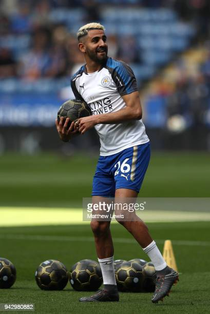 Riyad Mahrez of Leicester City warms up prior to the Premier League match between Leicester City and Newcastle United at The King Power Stadium on...