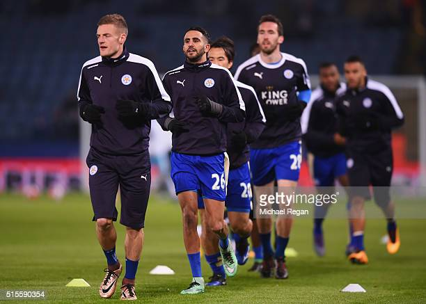 Riyad Mahrez of Leicester City warms up with team mates prior to the Barclays Premier League match between Leicester City and Newcastle United at The...