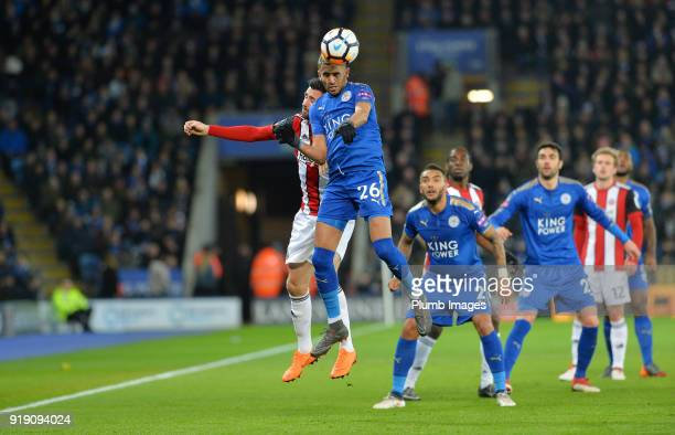 Riyad Mahrez of Leicester City wins an aerial challenge during the FA Cup fifth round match between Leicester City and Sheffield United at King Power...