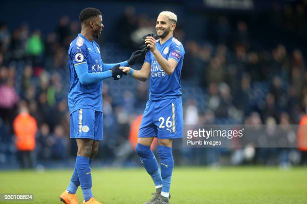 Riyad Mahrez of Leicester City with Kelechi Iheanacho of Leicester City after the Premier League match between West Bromwich Albion and Leicester...
