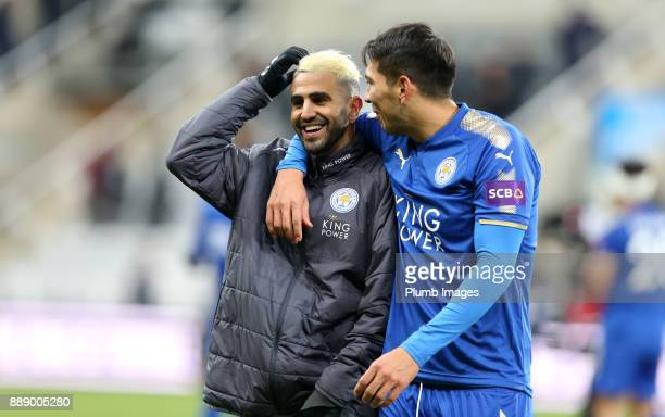 Riyad Mahrez of Leicester City with Leonardo Ulloa of Leicester City after the Premier League match between Newcastle United and Leicester City at St...