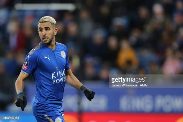 Riyad Mahrez of Leicester Cityduring the Emirates FA Cup Fifth Round match between Leicester City and Sheffield United at The King Power Stadium on...