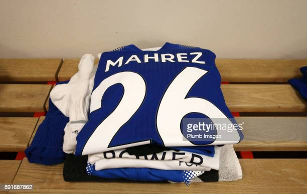 Riyad Mahrez of Leicester City's kit is laid out at St Mary's Stadium ahead of the Premier League match between Southampton and Leicester City at St...