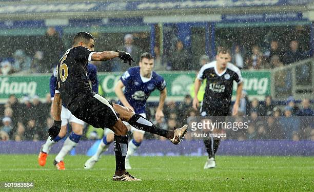 Riyad Mahrez of Leicester City's scores to make it 01 during the Premier League match between Everton and Leicester City at Goodison Park Stadium on...
