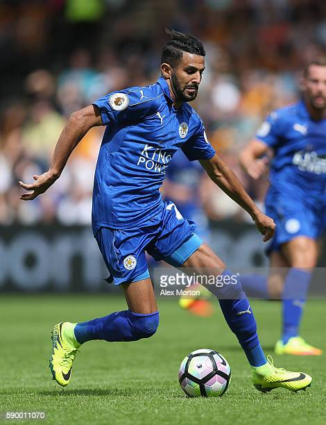 Riyad Mahrez of Leicester during the Premier League match between Hull City and Leicester City at KC Stadium on August 13 2016 in Hull England