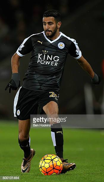Riyad Mahrez of Leicester in action during the Barclays Premier League match between Swansea City and Leicester City at Liberty Stadium on December 5...