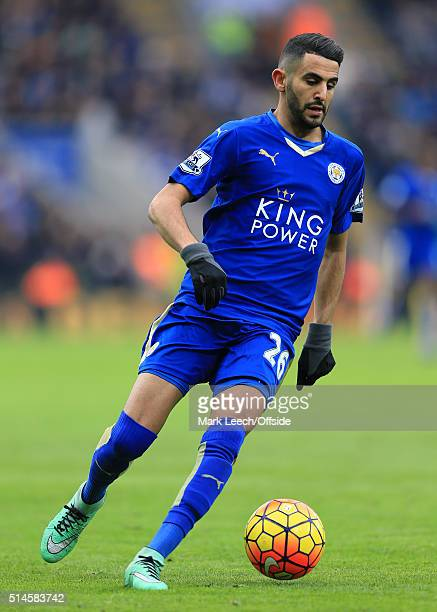 Riyad Mahrez of Leicester in action during the Barclays Premier League match between Leicester City and Norwich City at the King Power Stadium on...