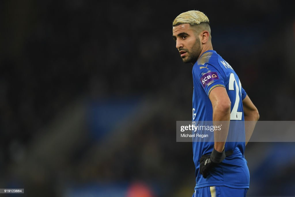 Riyad Mahrez of Leicester in action during The Emirates FA Cup Fifth Round match between Leicester City and Sheffield United at The King Power Stadium on February 16, 2018 in Leicester, England.