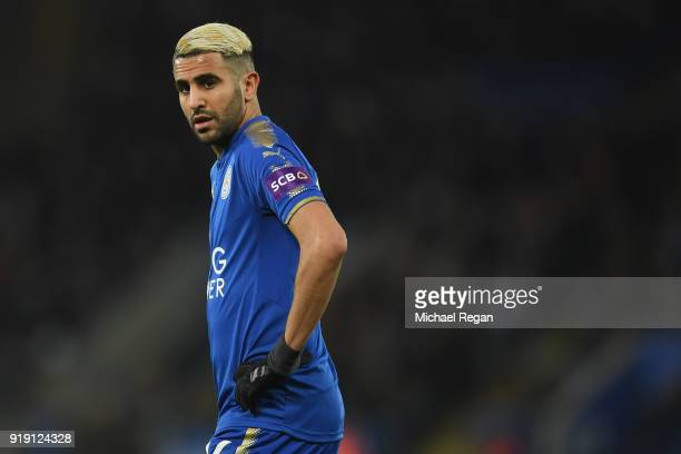 Riyad Mahrez of Leicester in action during The Emirates FA Cup Fifth Round match between Leicester City and Sheffield United at The King Power...