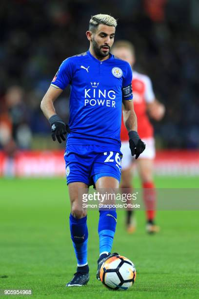 Riyad Mahrez of Leicester in action during The Emirates FA Cup Third Round Replay match between Leicester City and Fleetwood Town at the King Power...
