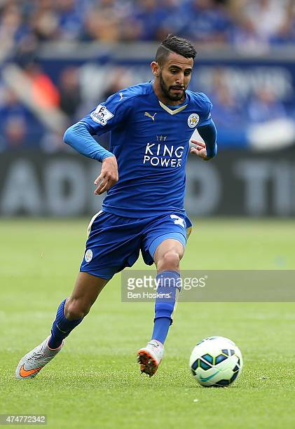 Riyad Mahrez of Leicester in action during the Premier League match between Leicester City and Queens Park Rangers at The King Power Stadium on May...