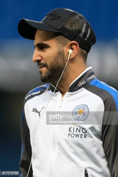 Riyad Mahrez of Leicester looks on before the Premier League match between Manchester City and Leicester City at the Etihad Stadium on February 10...