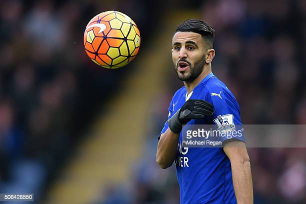 Riyad Mahrez of Leicester looks on during the Barclays Premier League match between Leicester City and Stoke City at