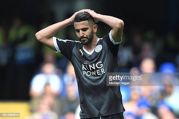 Riyad Mahrez of Leicester reacts after a missed chance during the Barclays Premier League match between Chelsea and Leicester City at Stamford Bridge...