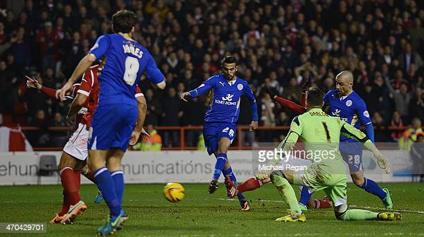 Riyad Mahrez of Leicester scores to make it 22 during the Sky Bet Championship match between Nottingham Forest and Leicester City at the City Ground...
