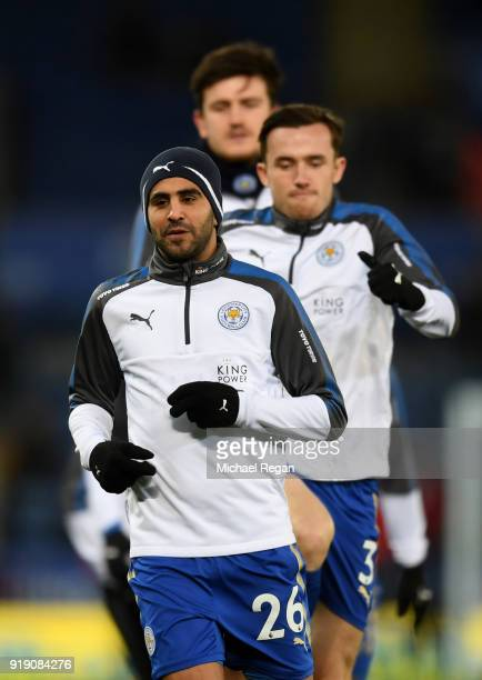 Riyad Mahrez of Leicester warmsup prior to The Emirates FA Cup Fifth Round match between Leicester City and Sheffield United at The King Power...