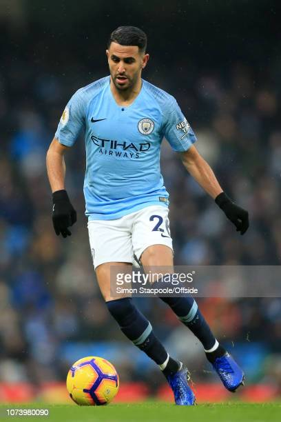 Riyad Mahrez of Man City in action during the Premier League match between Manchester City and Everton at the Etihad Stadium on December 15 2018 in...