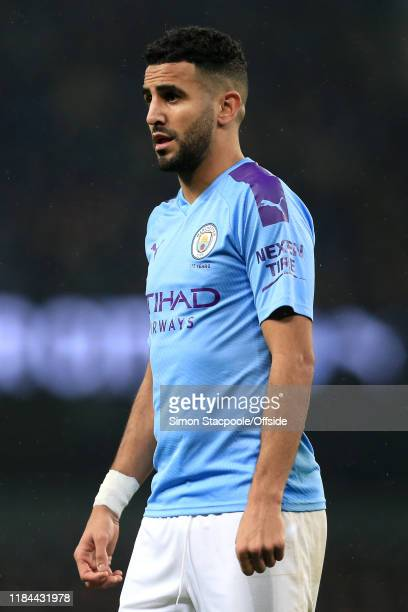 Riyad Mahrez of Man City looks on during the Premier League match between Manchester City and Chelsea FC at the Etihad Stadium on November 23 2019 in...