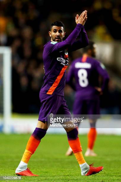 Riyad Mahrez of Manchester City acknowledges the fans as he is subbed during the Carabao Cup Third Round match between Oxford United and Manchester...