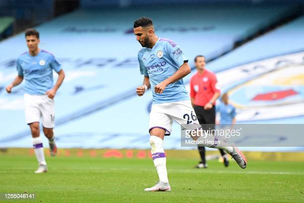 Riyad Mahrez of Manchester City celebrates after he scores his teams secong goal during the Premier League match between Manchester City and...
