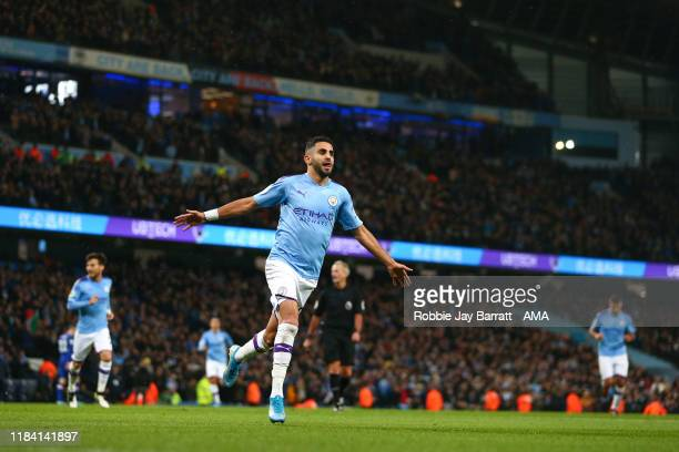 Riyad Mahrez of Manchester City celebrates after scoring a goal to make it 2-1 during the Premier League match between Manchester City and Chelsea FC...