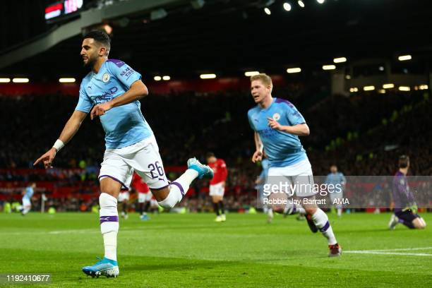 Riyad Mahrez of Manchester City celebrates after scoring a goal to make it 0-2 during the Carabao Cup Semi Final match between Manchester United and...