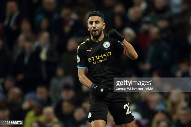 Riyad Mahrez of Manchester City celebrates after scoring a goal to make it 0-1 during the Premier League match between Aston Villa and Manchester...