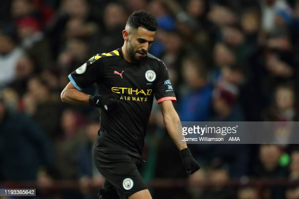 Riyad Mahrez of Manchester City celebrates after scoring a goal to make it 0-2 during the Premier League match between Aston Villa and Manchester...